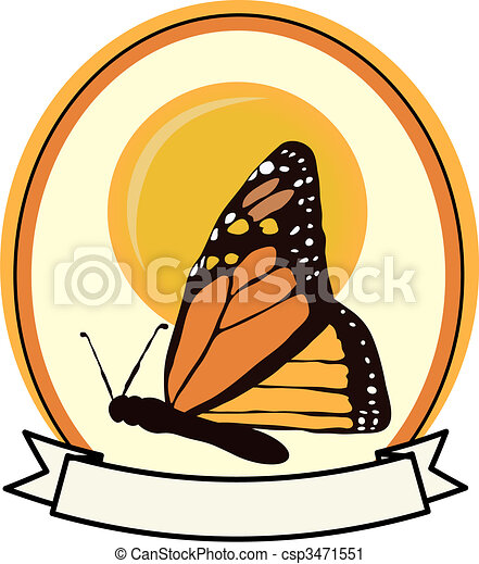 Colorful Monarch Butterfly badge banner ad vector - csp3471551