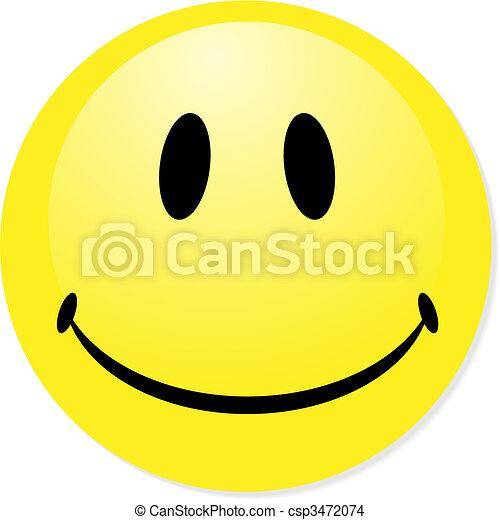 vector, Smiley, amarillo, Emoticon, perfecto, icono, botón, insignia, mezcla, sombra - csp3472074