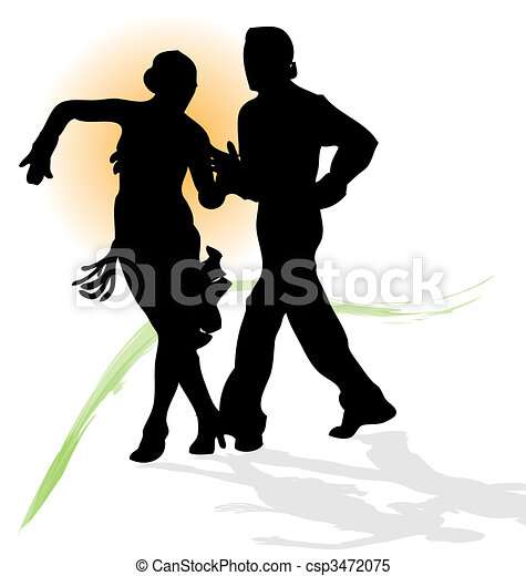 Vector silhouette of couple dancing latin with orange sun and green trace. - csp3472075