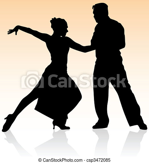 Vector silhouette of couple dancing tango on warm color background. - csp3472085