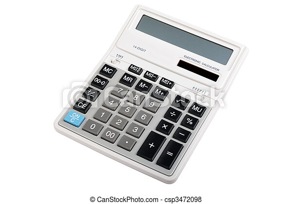Professional accounting calculator isolated on white backgorund. - csp3472098