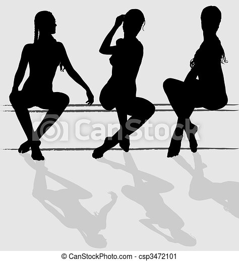 Three vector silhouettes of attractive young woman sitting - csp3472101