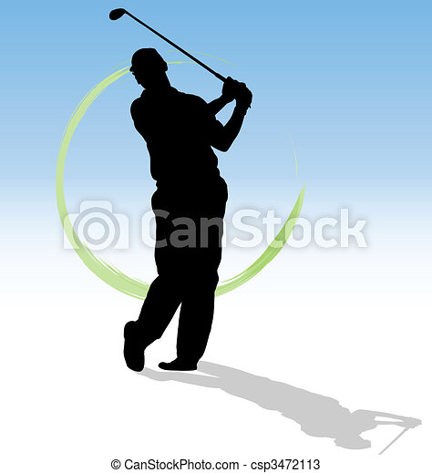 Vector silhouette of golfer with green trace on blue background. - csp3472113