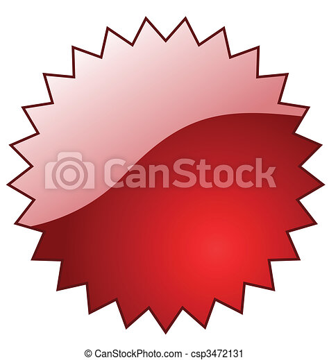 Red glossy vector star with reflection. Perfect for adding text or icons. - csp3472131