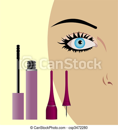 Close-up of a female eye with mascara being applied - csp3472280