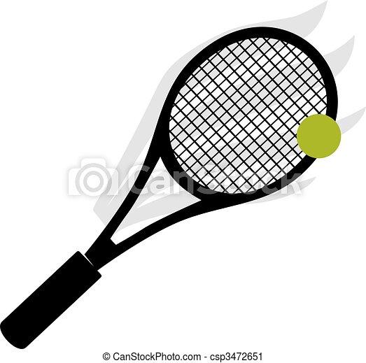 Clipart de raquette tennis balle illustration de a - Raquette dessin ...