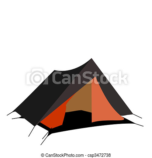 Tourist tent isolated on a white background - csp3472738