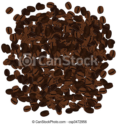 Realistic illustration of coffee beans - csp3472956