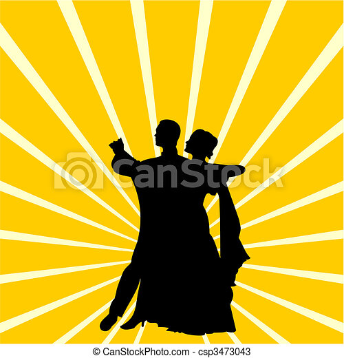 Silhouette a couple dancing waltz - csp3473043