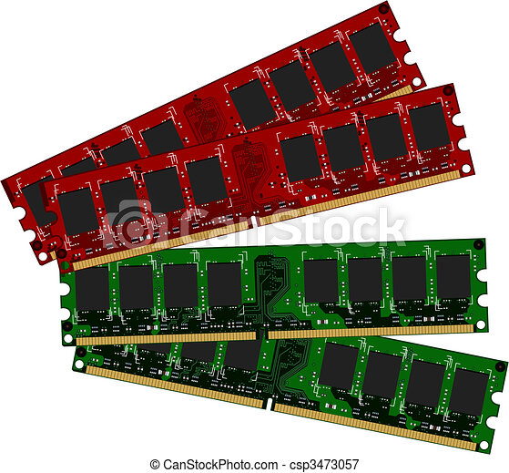 Two set DDRII modules red and green - csp3473057