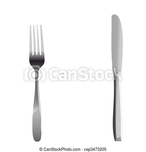 Realistic illustration set of fork and knife - csp3473205