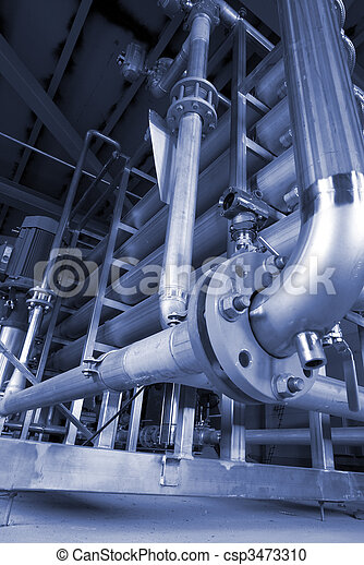 Pipes, tubes, machinery and steam turbine at a power plant - csp3473310