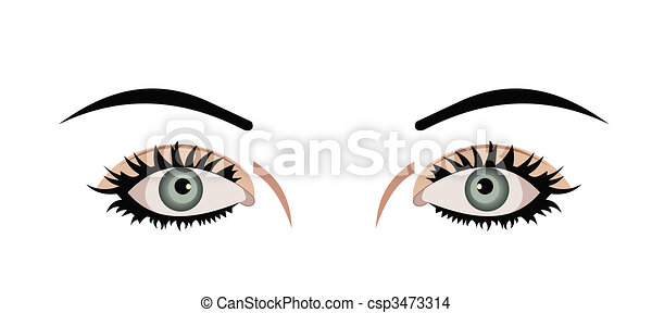 Realistic illustration of eyes are isolated on white background - csp3473314