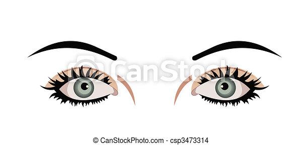 Realistic illustration of eyes are isolated on white background - csp3473314