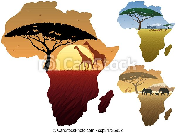 Vecteur clipart de carte paysages afrique three - Dessin paysage africain ...