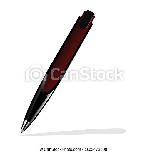 Realistic illustration of red pen - csp3473808