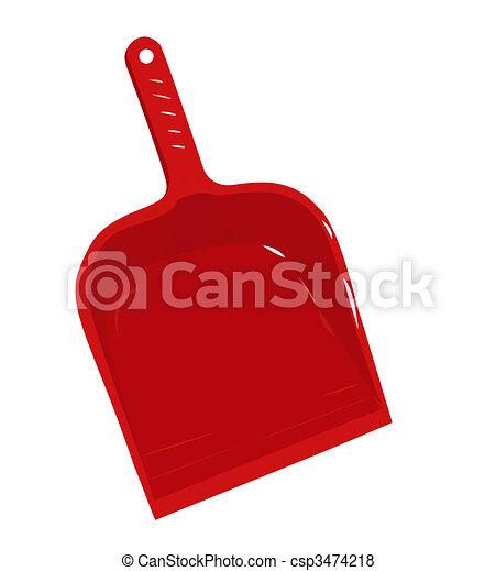 Red plastic scoop for dust - csp3474218
