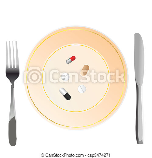Vector illustration of nutritional care represented by a few pills serving on the plate - csp3474271