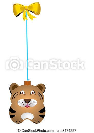 Navidad fur-tree toy tiger - csp3474287