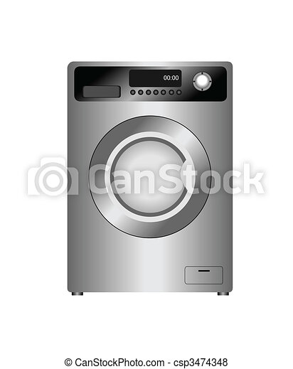 Realistic vector illustration of new washing machine isolated on white  background - csp3474348