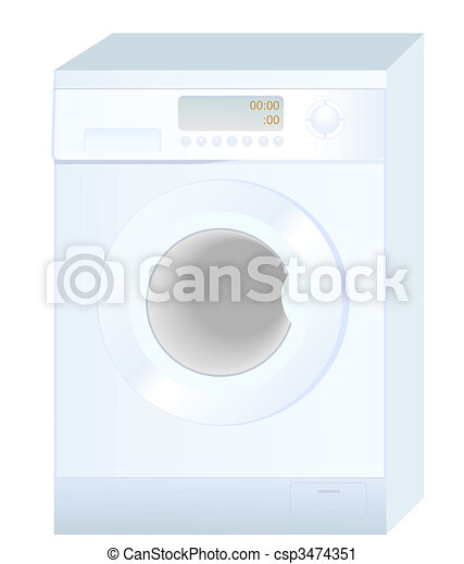 Realistic vector illustration of new washing machine isolated on white  background - csp3474351