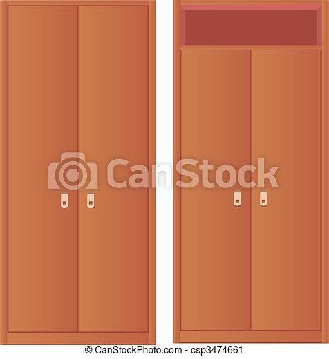 light-coloured wardrobe and wardrob - csp3474661