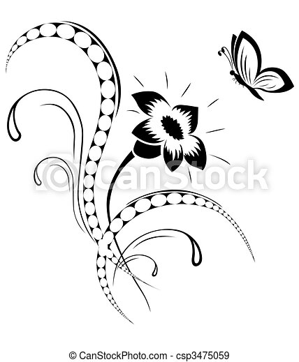 vecteurs eps de tatouage fleur mod le les d coratif il est noir a csp3475059. Black Bedroom Furniture Sets. Home Design Ideas