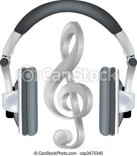 Realistic headphones with music note - csp3475340