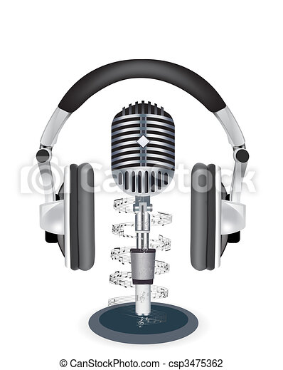 Vector headphones witn microphone on white background - csp3475362
