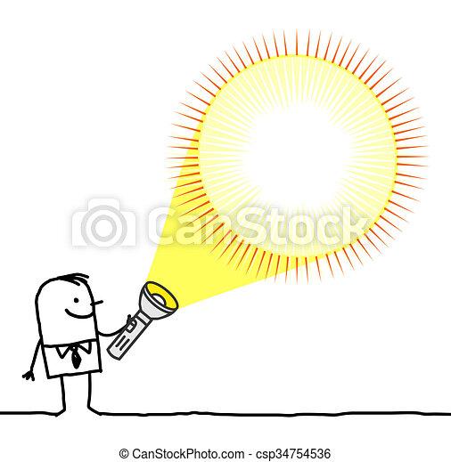 Taschenlampe clipart  Zeichnungen von taschenlampe, -, hand, charaktere, leer ...