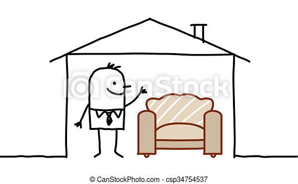 Sofa gezeichnet  Zeichnungen von &, haus, -, hand, charaktere, sofa, gezeichnet ...