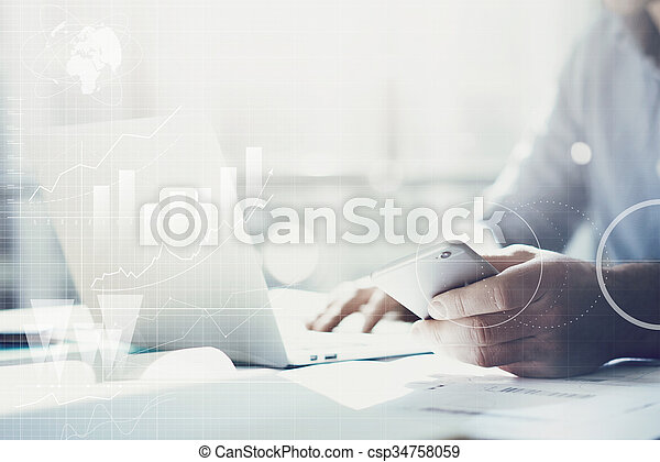 Business concept, businessman working laptop. Generic design notebook on the table. Worldwide connection technology interface