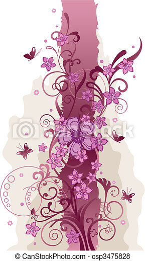 Pink flowers and butterflies border - csp3475828
