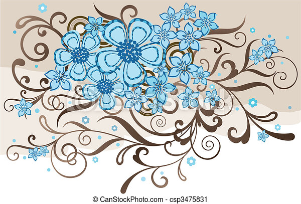 Turquoise and brown floral design - csp3475831