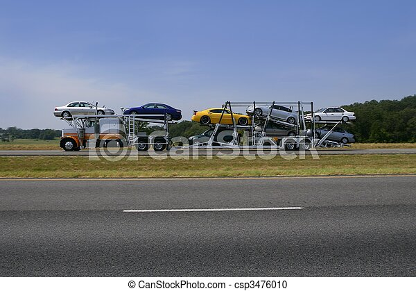 Truck on the road with colorful cars transport  - csp3476010