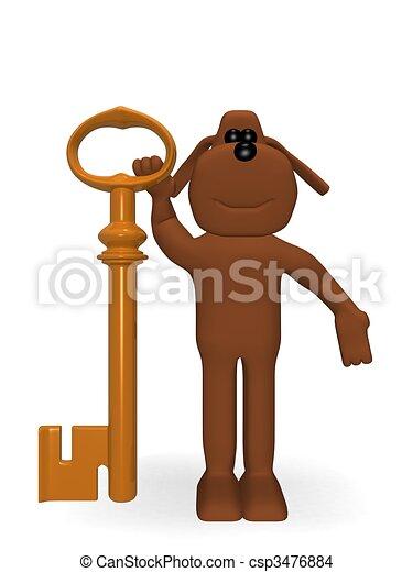 viejo, perro, llave - csp3476884