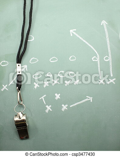Football Sweep Chalkboard and Coaches Whistle - csp3477430