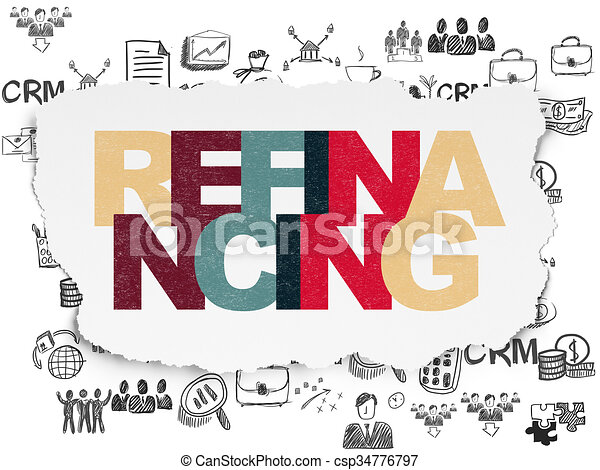 Finance concept: Refinancing on Torn Paper background - csp34776797