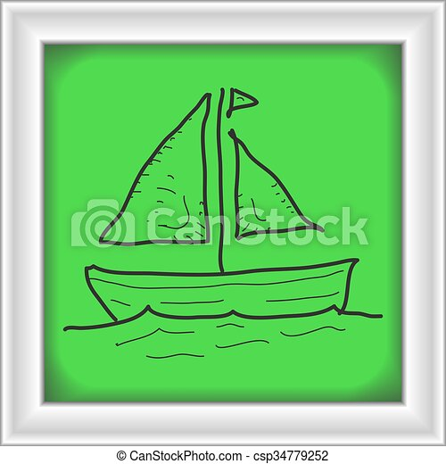 Clipart Vector of Simple doodle of a sail boat - Simple ...