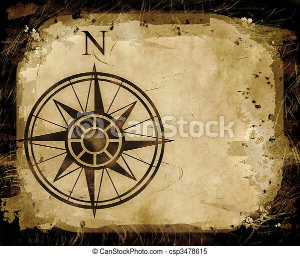 north compass map arrow  - csp3478615