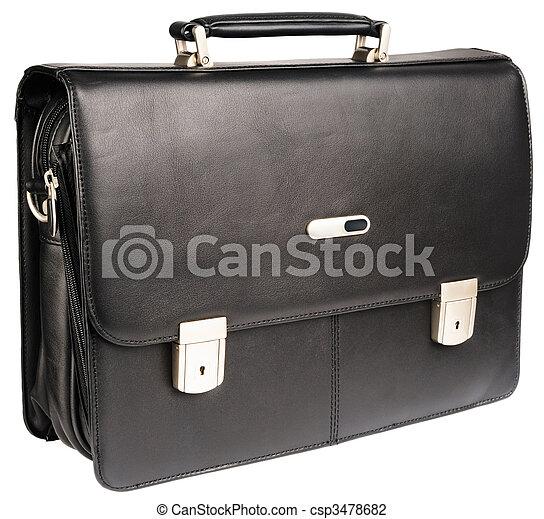 Black leather briefcase - csp3478682