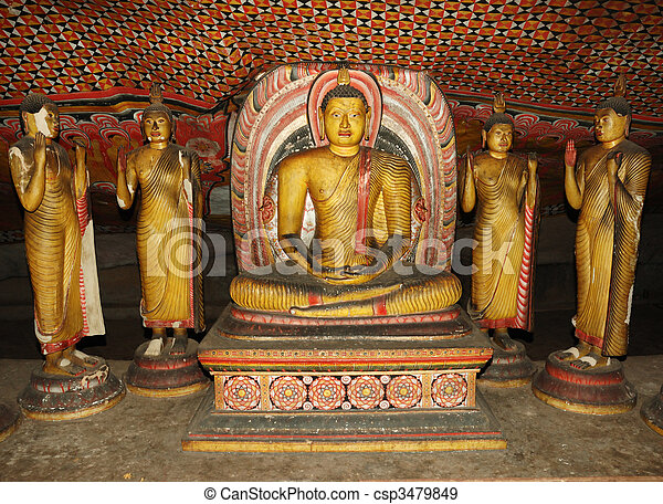 Buddha statues at Dambulla - buddhist cave temple complex in Sri Lanka, UNESCO world heritage - csp3479849