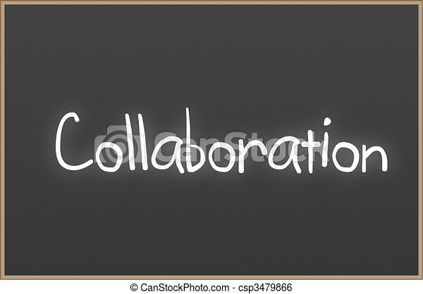 Chalkboard with text Collaboration - csp3479866