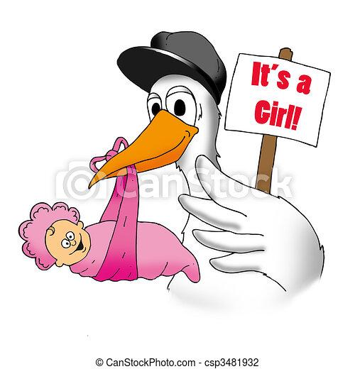 Clip Art de Cigüeña, bebé, niña - el, Cigüeña, tiene, algunos, muy ...