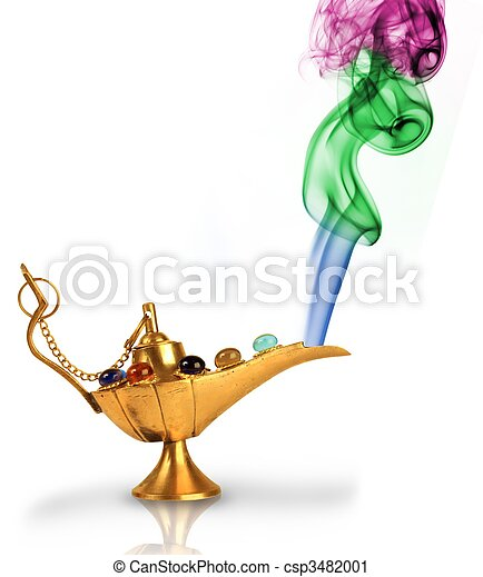 Aladdin\'s magic lamp with pearls and colorful smoke isolated on  - csp3482001