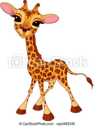 Vecteur clipart de girafe veau illustration de peu - Girafe rigolote ...