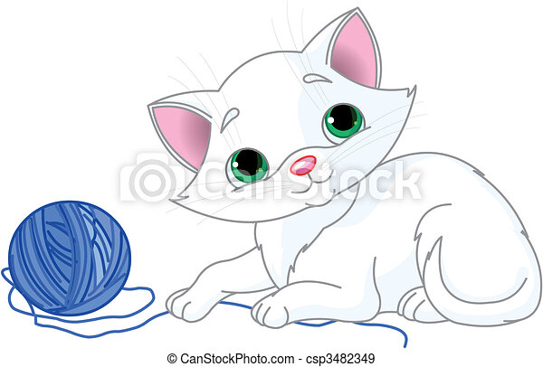Playful White Kitten - csp3482349