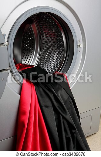 Smooth satin fabric in a washing machine - csp3482676