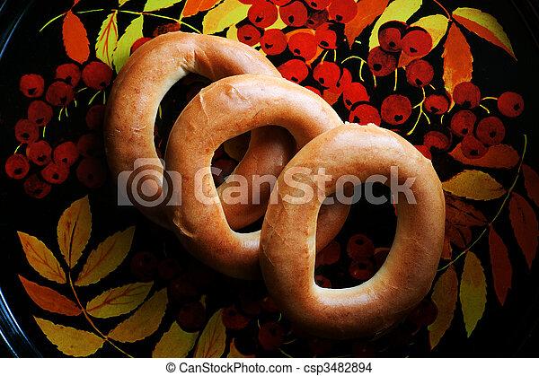 Rosquillas de pan, bandeja - csp3482894