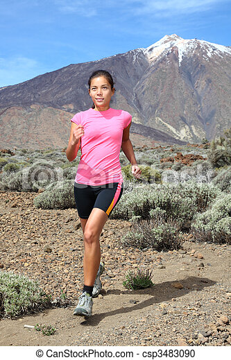 Cross-country trail runner - woman running - csp3483090